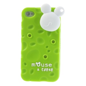 PIZU Smell Cheese Soft Silicone Cover w/ Mouse Cord Winder for iPhone 4s 4 - Green
