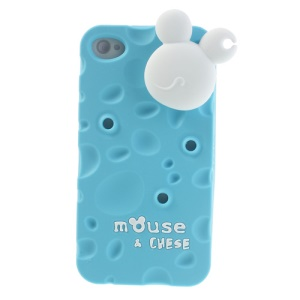 PIZU Smell Cheese Soft Silicone Cover w/ Mouse Cord Winder for iPhone 4s 4 - Blue