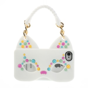 Originalis Factory Hand Bag Style Cat Mask Soft Silicone Case for iPhone 4 4S - White