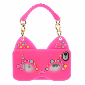 Originalis Factory Hand Bag Style Cat Mask Soft Silicone Cover for iPhone 4 4S - Rose