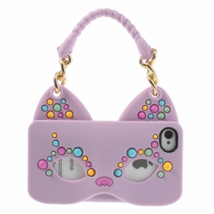 Originalis Factory Hand Bag Style Cat Mask for iPhone 4 4S Silicone Gel Cover - Purple