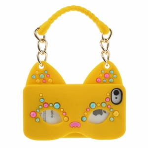 Originalis Factory for iPhone 4 4S Hand Bag Style Cat Mask Silicone Back Shell - Yellow