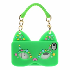 Originalis Factory for iPhone 4 4S Hand Bag Style Cat Mask Silicone Phone Case - Green
