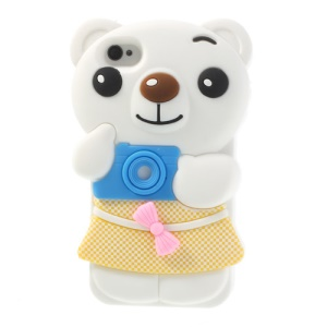 Cute Bowknot Bear Silicone Case for iPhone 4 4s - White