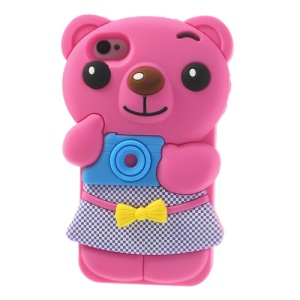 Adorable Bowknot Bear Silicone Skin Case for iPhone 4 4s - Rose