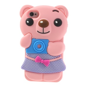 Lovely Bowknot Bear Silicone Protective Case for iPhone 4 4s - Pink