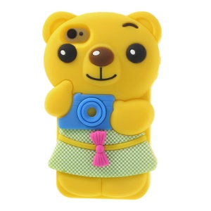 Endearing Bowknot Bear Silicone Cover for iPhone 4 4s - Yellow