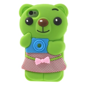 Cute Bowknot Bear Silicone Skin Cover for iPhone 4 4s - Green