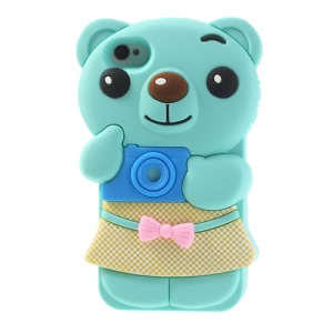 Cute Bowknot Bear Soft Silicone Cover for iPhone 4 4s - Cyan