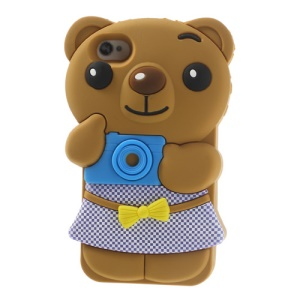 Cute Bowknot Bear Soft Silicone Case for iPhone 4 4s - Brown