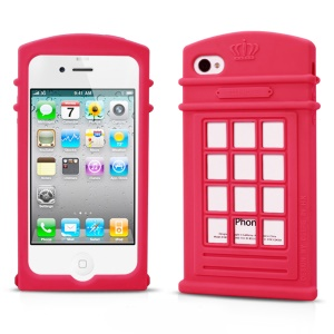 HelloDeere Telephone Series Hollow Silicone Case for iPhone 4s 4 - Rose