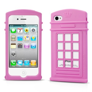 HelloDeere Telephone Series Hollow Silicone Shell Case for iPhone 4s 4 - Pink