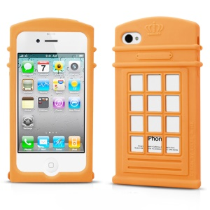 HelloDeere Telephone Series Hollow Silicone Skin Case for iPhone 4s 4 - Orange