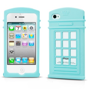 HelloDeere Telephone Series Hollow Silicone Cover for iPhone 4s 4 - Baby Blue