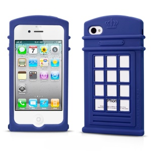 HelloDeere Telephone Series Hollow Silicone Protective Cover for iPhone 4s 4 - Dark Blue
