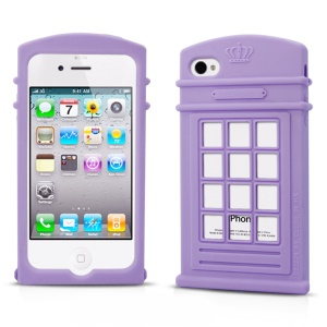HelloDeere Telephone Series Hollow Silicone Skin Cover for iPhone 4s 4 - Purple
