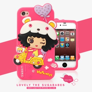 HelloDeere Sugababes Series Cartoon Girl Silicone Case for iPhone 4 4s - Rose