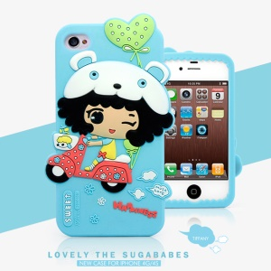 HelloDeere Sugababes Series Cartoon Girl Silicone Skin Case for iPhone 4 4s - Cyan