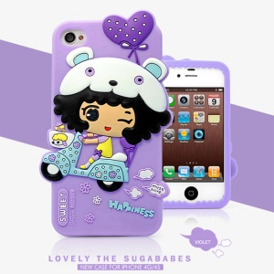 HelloDeere Sugababes Series Cartoon Girl Silicone Shell Case for iPhone 4 4s - Purple