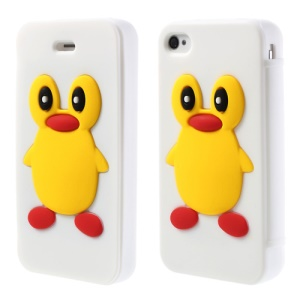 Adorable Penguin Suction Cup Flip Style Silicone Cover for iPhone 4 4s - White