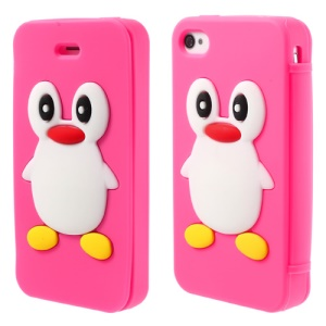 Adorable Penguin Suction Cup Flip Style Silicone Skin Case for iPhone 4 4s - Rose