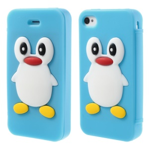 Adorable Penguin Suction Cup Flip Style Silicone Shell for iPhone 4 4s - Baby Blue