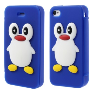 Adorable Penguin Suction Cup Flip Style Silicone Case Shell for iPhone 4 4s - Dark Blue
