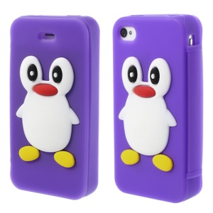 Adorable Penguin Suction Cup Flip Style Silicone Protective Case for iPhone 4 4s - Purple