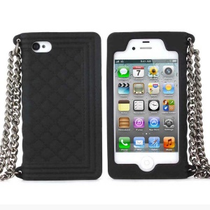 Black for iPhone 4s 4 Grid Pattern Silicone Skin Cover w/ Chain