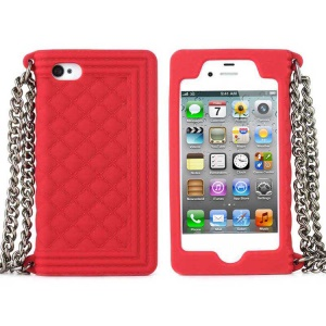 Red for iPhone 4s 4 Grid Pattern Silicone Skin Cover w/ Chain
