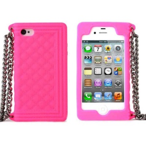 Rose for iPhone 4s 4 Grid Pattern Silicone Skin Cover w/ Chain