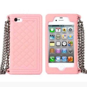 Pink for iPhone 4s 4 Grid Pattern Silicone Case Cover w/ Chain