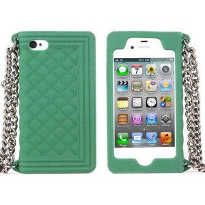 Green for iPhone 4s 4 Grid Pattern Silicone Case Cover w/ Chain