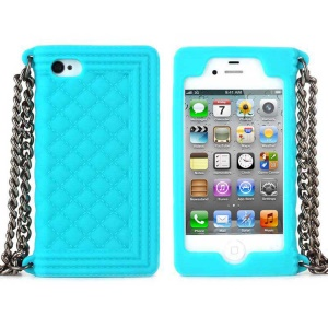 Light Blue for iPhone 4s 4 Grid Pattern Silicone Case Cover w/ Chain