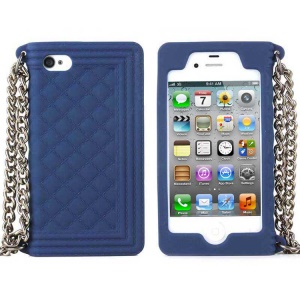 Dark Blue for iPhone 4s 4 Grid Pattern Silicone Shell w/ Chain