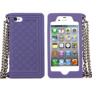 Purple for iPhone 4s 4 Grid Pattern Silicone Shell w/ Chain