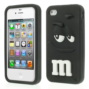 Black PIZU Cute M&M Chocolate Rainbow Bean Fragrance Silicone Case for iPhone 4 4S