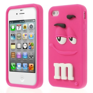 Rose PIZU Cute M&M Chocolate Rainbow Bean Fragrance Silicone Case for iPhone 4 4S