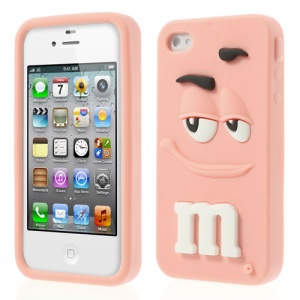 Pink PIZU Cute M&M Chocolate Rainbow Bean Fragrance Silicone Cover for iPhone 4 4S