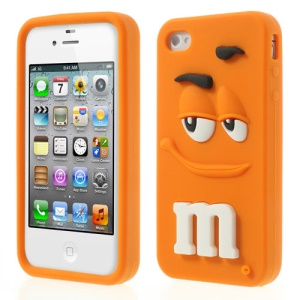 Orange PIZU Cute M&Ms Chocolate Bean Fragrance Soft Silicone Cover for iPhone 4 4S