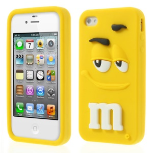 Yellow PIZU Cute M&Ms Chocolate Bean Candy Smell Soft Silicone Cover for iPhone 4 4S
