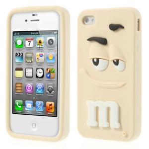 Beige PIZU Cute M&Ms Bean Candy Smell Soft Silicone Jelly Cover for iPhone 4 4S