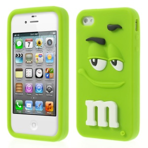 Green PIZU Cute M&Ms Bean Candy Smell Soft Silicone Jelly Cover for iPhone 4 4S