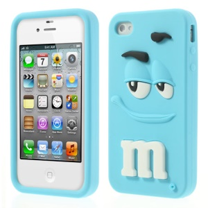 Baby Blue PIZU Cute M&Ms Bean Candy Smell Soft Silicone Skin Cover for iPhone 4 4S