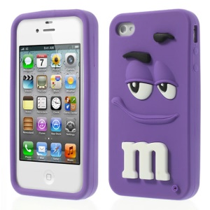 Purple PIZU Cute M&Ms Bean Candy Smell for iPhone 4 4S Soft Silicone Skin Shell
