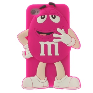 Happy M&Ms Chocolate Rainbow Bean Silicone Case for iPhone 4 4s - Rose