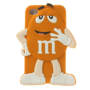 Happy M&Ms Chocolate Rainbow Bean Silicone Cover for iPhone 4 4s - Orange