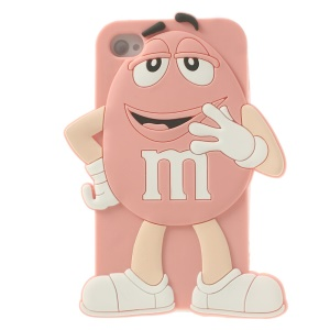 Happy M&Ms Chocolate Rainbow Bean Silicone Skin Case for iPhone 4 4s - Pink