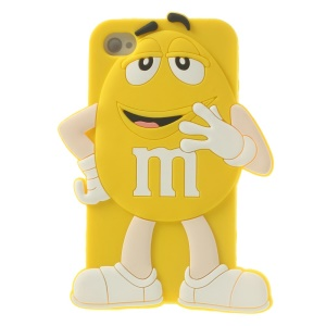 Happy M&Ms Chocolate Rainbow Bean Silicone Case Cover for iPhone 4 4s - Yellow