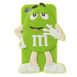 Happy M&Ms Chocolate Rainbow Bean Silicone Case Shell for iPhone 4 4s - Green